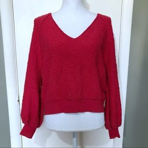 Free People Red Snub Knit Long Sleeve Sweater